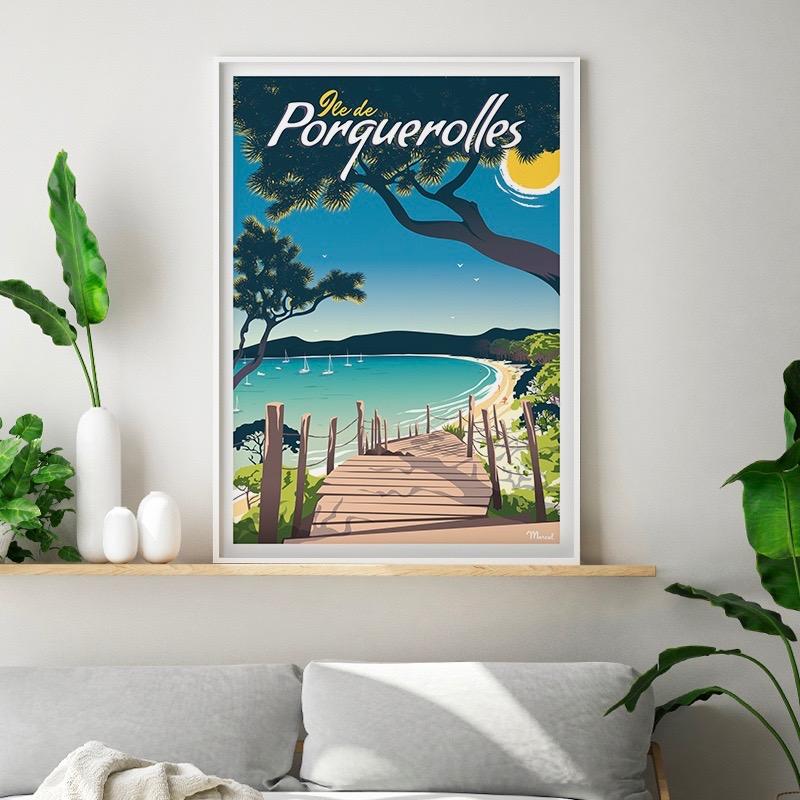 affiche-porquerolles-plage-marcel-poster
